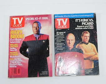 Vintage TV Guide Science Fiction Lot of 2 Magazines, Star Trek Kirk vs Picard Aug 31-Sept 6 1991, DS9 Avery Brooks January 15-21 1994
