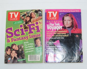 Vintage TV Guide Science Fiction Lot of 2 Magazines, Star Trek Voyager October 8-14 1994, Sci-Fi & Fantasy Issue January 20-26 1996
