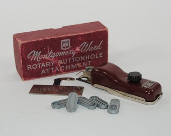 Vintage 1960s Montgomery Ward Buttonhole Attachment 85C-9700 with the original box, Wards Reversable Rotary Open Arm Sewing Machine