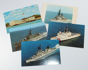 Vintage Postcard Bundle, 5 cards, Military Vessels, Vogelgesang, Arizona Memorial, Davidson, USCGC Tampa, USS Sampson
