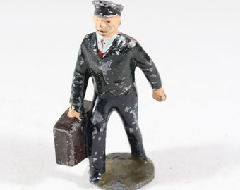 Vintage Barclay Lincoln Logs Figure, Train Conductor Carrying a Bag, 1950s, USA