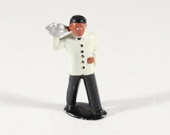 Vintage Barclay Manoil Mini Lead Figure, Waiter on a train, 1950s