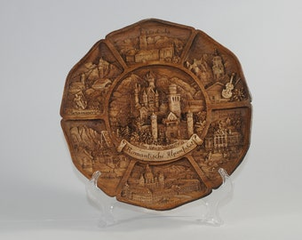Vintage 3D Neuschwanstein Castle Carved Wood & Resin Collector Plate, Wall Hanging of Bavaria, Germany, 1980s