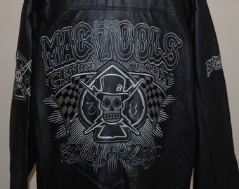 Mac Tools Black Leather Jacket with Skull and Ace of Spades on Back Adult 2XL