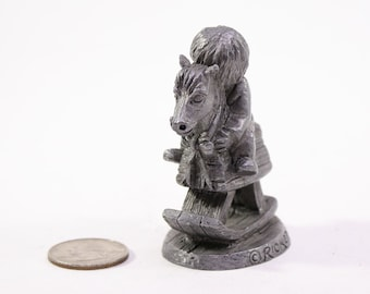 "Vintage Ricker Pewter Figurine, ""The Gift Of Love"", A Girl and her horse, Signed, Michael A Ricker, 1987"