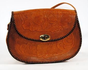 Vintage Handmade Brown Leather Saddle Style Purse Shoulder Bag Made by Prym 1960-1970s