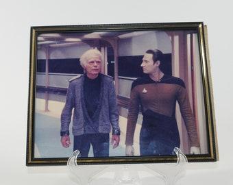 Vintage Star Trek Photograph of Leonard H McCoy and Data in Glass Frame 1991