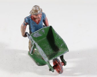 Vintage Lead Figure, Man With Wheelbarrow, 1950s France