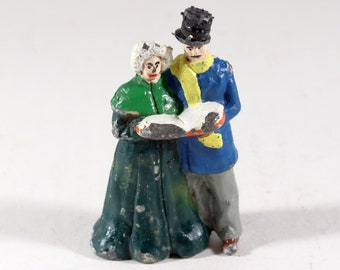 Vintage Barclay Manoil Lead Figure, Man And Woman Caroling, 1950s