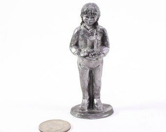 Vintage Ricker Pewter Figurine, The Gift Of Love, For Santa, Special Edition Michael A Ricker