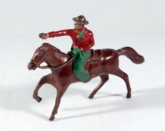 Vintage Lincoln Logs Lead Figure, Man Riding a Horse, Made in the USA 1950s