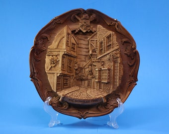 Vintage 3D The Shambles York Carved Resin Collector Plate