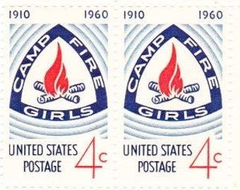 Vintage Postage Stamps Camp Fire Girls 1960, 6 4 Cent Stamps, Scott 1167