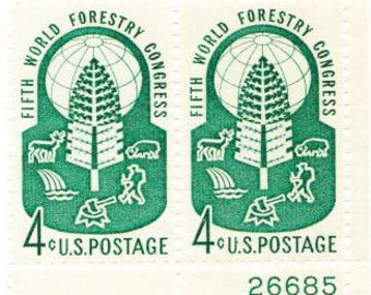 Vintage Postage Stamps Fifth World Forestry Congress 1960, 4 4 Cent Stamps, Scott 1156