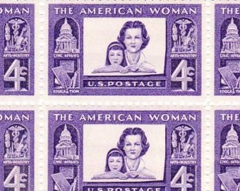 Vintage Postage Stamps The American Woman 1960, 6 4 Cent Stamps, Scott 1152
