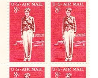 Vintage Postage Stamps Amelia Earhart 1963, 6 8 Cent Stamps, Scott C68
