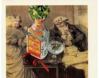 Vintage Print Art, Original Magazine Print Advertisement, Wall Art, Wall Decor, Gordon's London Dry Gin, 1960s
