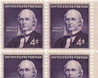Vintage Postage Stamps Horace Greeley 1961, 6 4 Cent Stamps, Scott 1177
