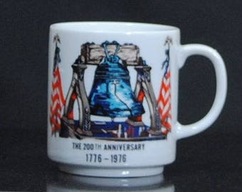 Vintage Bicentennial, Coffee Mug, 1776, 1976, 200th, Anniversary Cup, Mug, Liberty Bell, Declaration, of Independence, Independent Republic