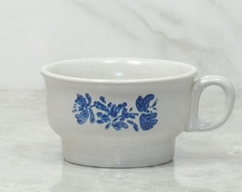 Vintage Pfaltzgraff YORKTOWNE Coffee Mug,Tea Mug, Blue on Gray, Stoneware Mug, Flat Mug, Soup Bowl, Pfaltzgraff Cup, Blue Floral Mug, Bowl