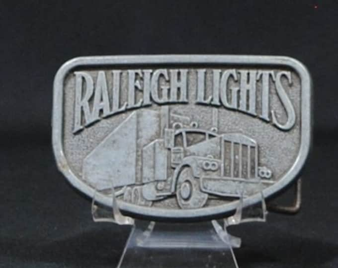 Vintage Pewter Belt Buckle, Raleigh Lights, 1970s, Cigarette, Truck Driver Buckle, Semi Truck, Big Rig, Metal Buckle, Vintage Buckle