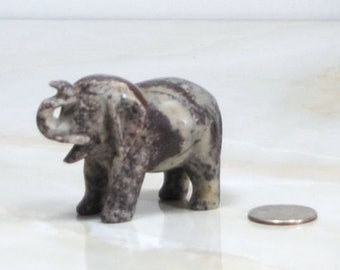 Vintage Miniature Carved Black Onyx Elephant, Marble,1970s from Mexico