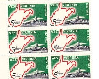 Vintage Postage Stamps West Virginia 1963, 6 4 Cent Stamps, Scott 1232