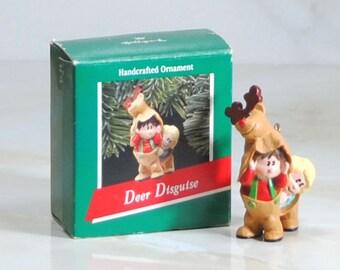 Vintage Hallmark Ornament, Deer Disguise, Handcrafted, Ornament, 1989, Hallmark Cards, Keepsake Ornament