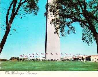 Vintage Postcard The Washington Monument Washington D.C. Dexter Press 1970s, Color Photograph, National Mall, George Washington, Marble