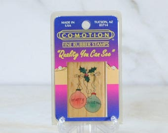 Vintage Christmas Rubber Stamp From C-O-M-O-T-I-O-N Fine Rubber Stamps 1989, Chrstmas Balls