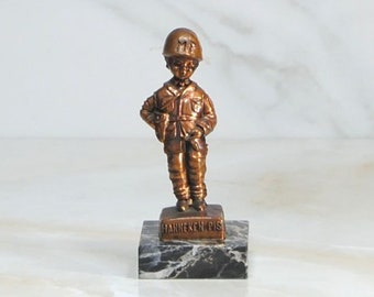 Vintage Manneken Pis Military Police Figure, Bronze Colored Statue On Marble Base