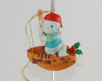 Vintage  Christmas Ornament, Baby Bear Baseball Star, 1990s