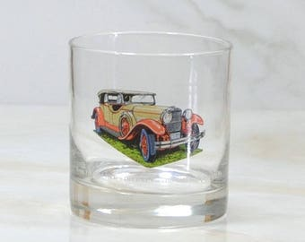 Vintage Walker's, Deluxe, Bourbon Whiskey, Rocks Style Glass, 1973, Straight 8, Collection, 1929, Stutz, Speedster, Classc Car, Barware