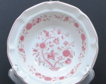 Vintage Pink Transferware Bowl, Indian Tree Stoneware Pottery, Tree of Life Pattern