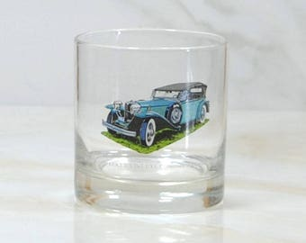Vintage Walker's, Deluxe, Bourbon Whiskey, Rocks Style Glass, 1973, Straight 8, Collection, 1930, Ruxton, Phaeton, Classc Car, Barware