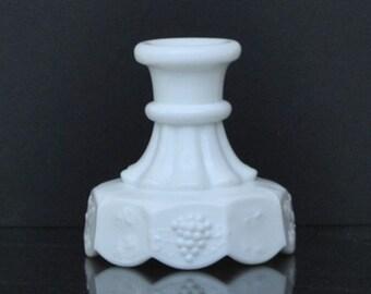 Vintage Westmoreland White Milk Glass Candle Holder, Paneled Grape, Grape Leaf, Grapevine, White Candlestick, Milk Glass, Grapes, White