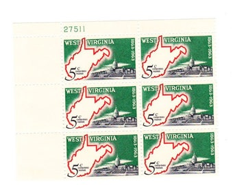 Vintage Postage Stamps West Virginia 1963, 6 4 Cent Stamps, Scott 1732