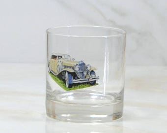 Vintage Walker's, Deluxe, Bourbon Whiskey, Rocks Style Glass, 1973, Straight 8, Collection, 1930, Dusenberg, Phaeton, Classc Car, Barware