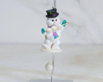 Vintage Hallmark Ornament, Cool Juggler, Snowman Ornament, 1988, Handcrafted