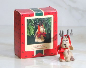 Vintage Hallmark Ornament, Reindoggy, Handcrafted, Ornament, 1987, Hallmark Cards