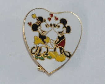 Vintage Mickey Mouse Pin, Mickey and Minnie Mouse In Heart Collector Pin