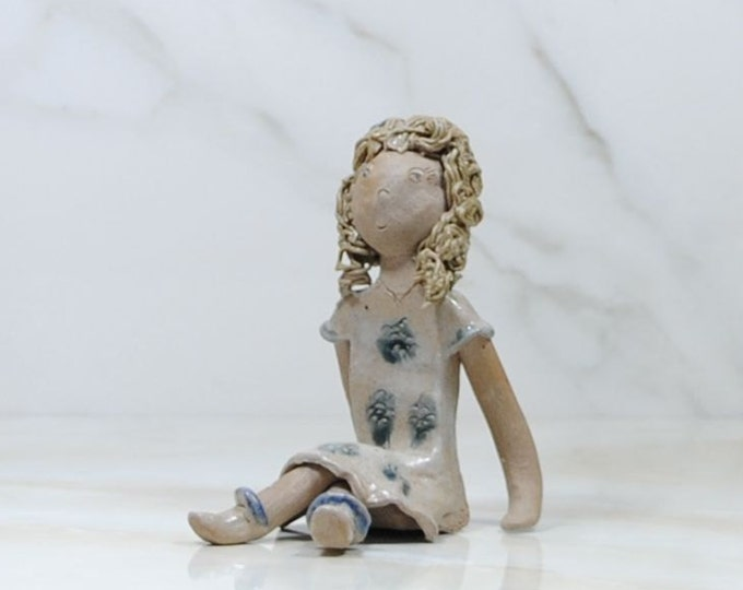 Featured listing image: Vintage Earthenware Figurine of Girl Figurine, 1980s Hand crafted South American Clay Sculpture