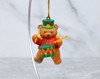Vintage Keepsake Ornament, Gibson Marching Bear, Teddy Hugglesbie Collectible, 1994, Christmas, Drummer, Teddy Bear, Band, Collectible Bear