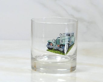 Vintage Walker's, Deluxe, Bourbon Whiskey, Rocks Style Glass, 1973, Straight 8, Collection, 1931, Cord L 29, Sedan, Classc Car, Barware