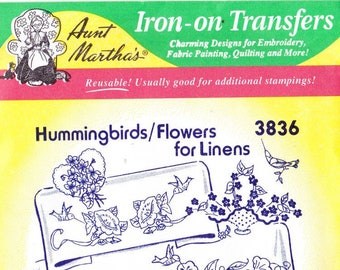 Aunt Martha's Hot Iron Transfers Hummingbirds Flowers for Linens 3836
