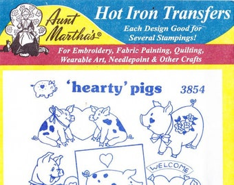 Aunt Martha's Hot Iron Transfers Hearty Pigs 3854