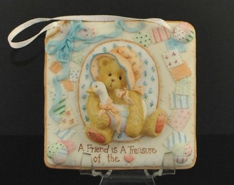 "Vintage Cherished Teddies ""A Friend is A Treasure Of The Heart"" Plaque, 1993, Priscilla Hillman, Enesco"