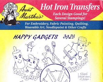 Aunt Martha's Hot Iron Transfers Happy Gadgets 3929