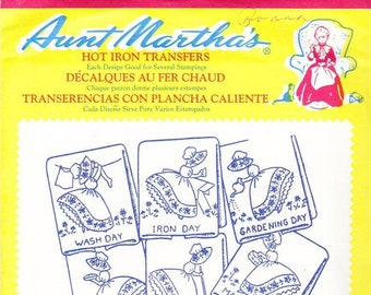 Aunt Martha's Hot Iron Transfers, Colonial Girl Tea Towel Motifs #355