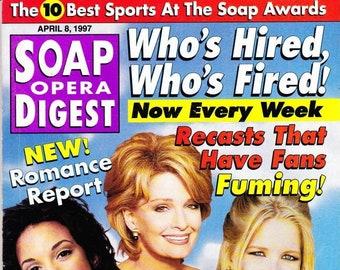 Soap Opera Digest Magazine, April 8, 1997, Judi Evans Luciano, Leslie Carleson, Ian Buchanan, Cynthia Watros